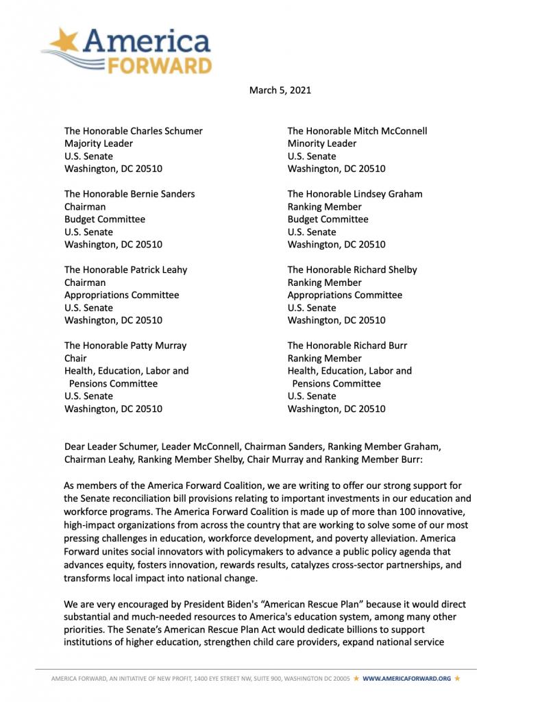 America Forward Senate Reconciliation Sign-On Letter