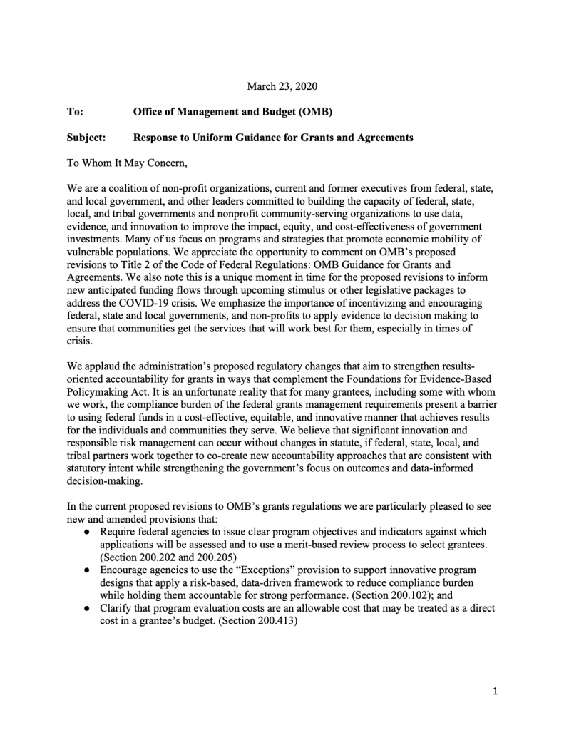 America Forward Coalition Letter re: OMB Grants Rules