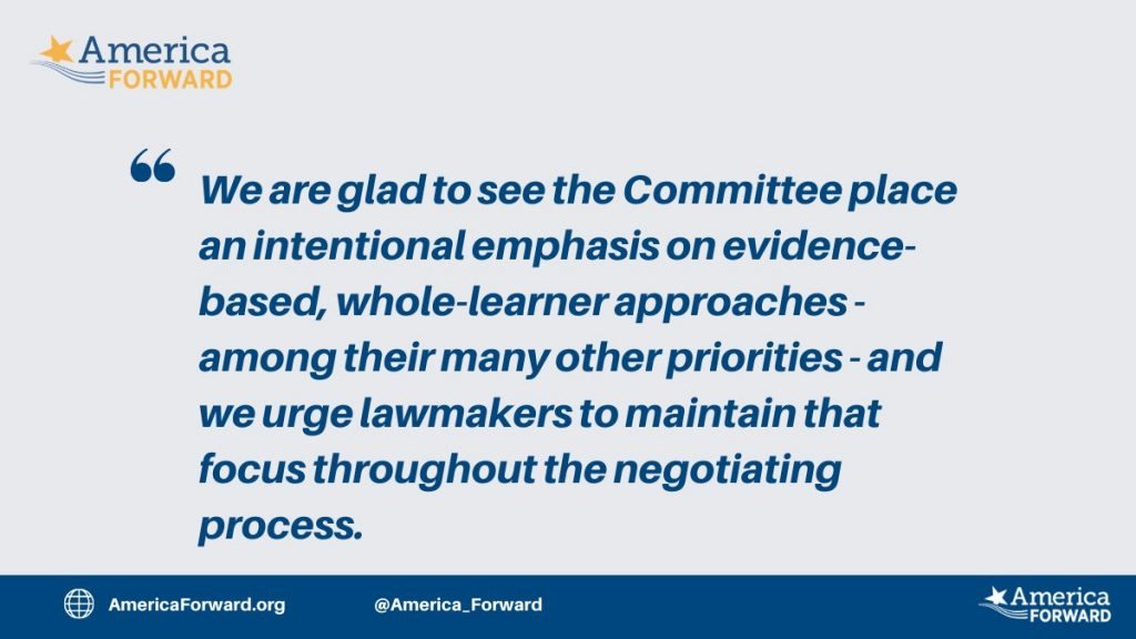 America Forward Statement on the House Education & Labor Committee Budget Reconciliation Bill