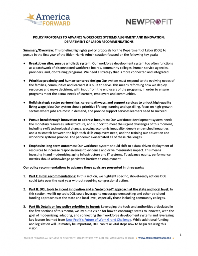 Workforce Systems Alignment and Innovation: Department of Labor Recommendations