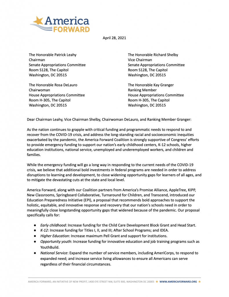 America Forward FY 22 Appropriations Requests Letter