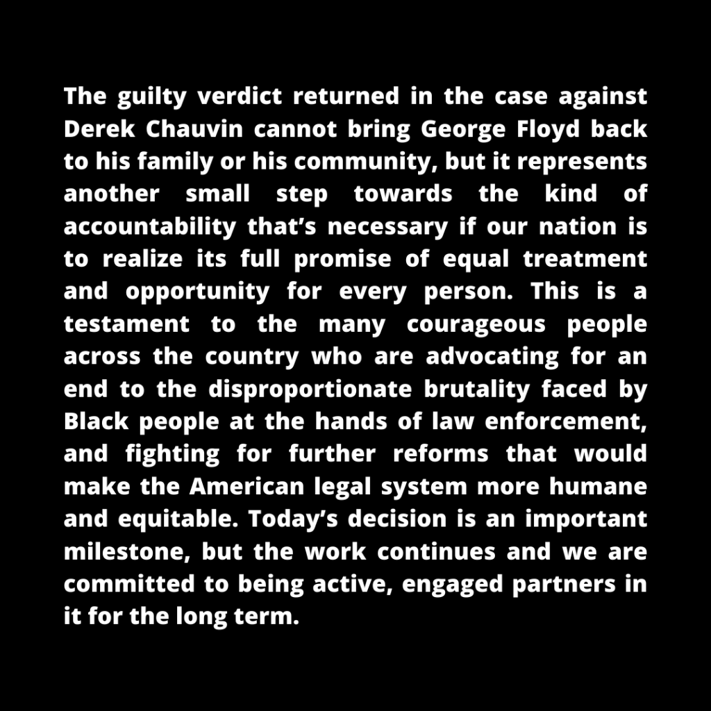 Statement from New Profit and America Forward on the Chauvin Trial Verdict