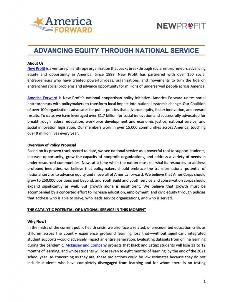 Advancing Equity Through National Service