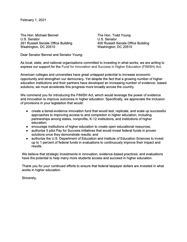 FINISH Act Support Letter (February 1, 2021)